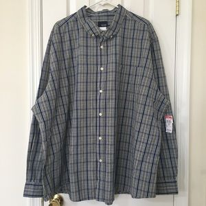 Big Men's Navy Blue and Gray Plaid Shirt